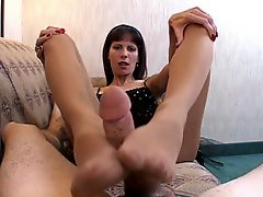 Stocking footjob