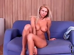 Solo blonde with breathtaking big tits