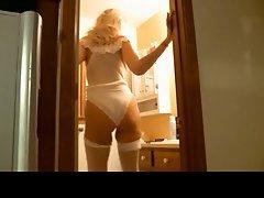 Tall blonde MILF getting ready