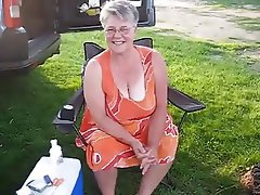 Granny wirh big white bra