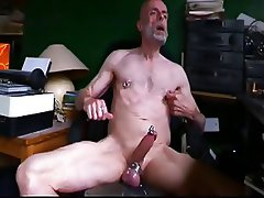 Pierced Daddy wank and smoke