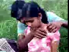 Village girl outdoor fun, she like only kiss