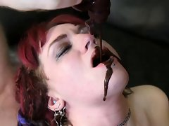 Sexy Gothic Girl's gagging hard