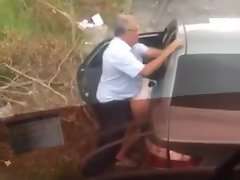 Hidden cam older man fucks in the street