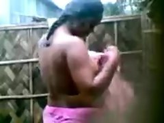 Indian Aunty&amp;#039;s HUGE Boobs Show while bathing